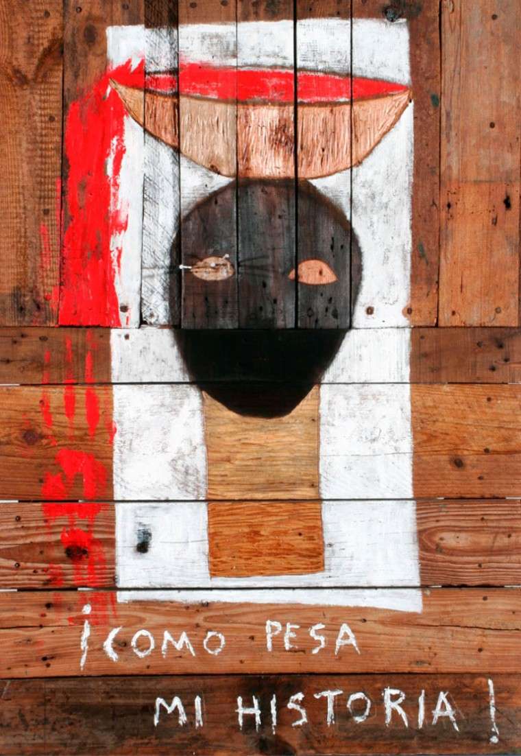 Cómo pesa mi historia, 2003.Mixta sobre madera. 120 x 80 cm