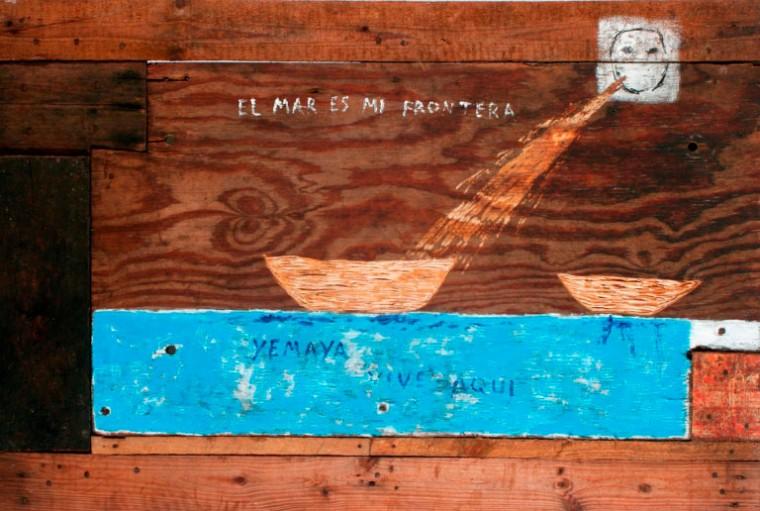 El mar es mi frontera de la serie Un lugar en elmundo, 2009. Mixta sobre madera. 80 x 120 cm