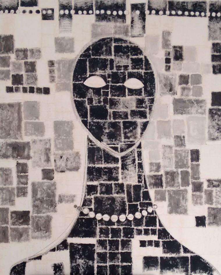 Esperando desde mi silencio, 2016. Mixta sobre tela. 150 x 120 cm