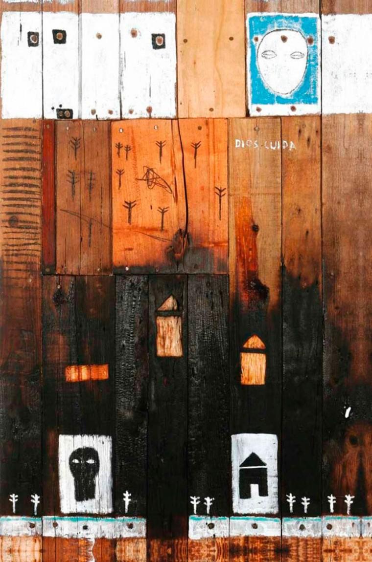 Siempre protegidos, 2006. Mixta sobre madera. 120 x 80 cm