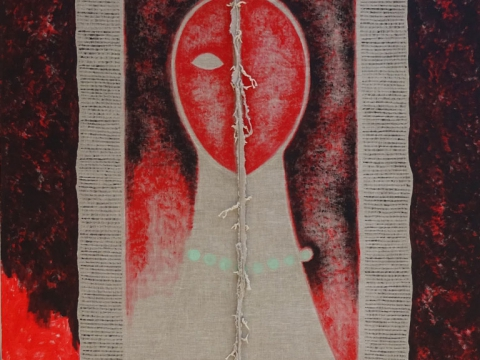 De la serie Rostro Rojo, 2016. Mixta sobre tela. 200 x 150 cm