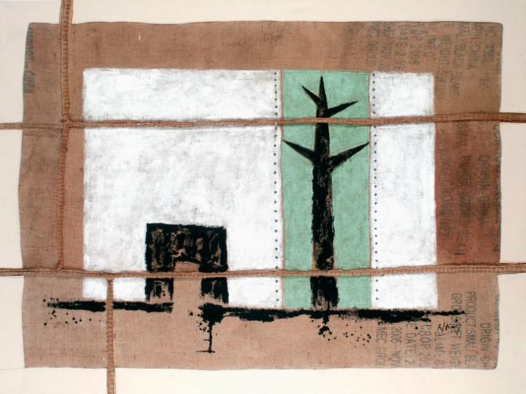 La paz que lucho, 2009. Mixta sobre yute. 150 x 200 cm