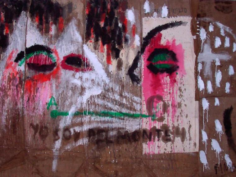 Yo soy del monte, 2000. Mixta sobre yute. 200 x 300 cm
